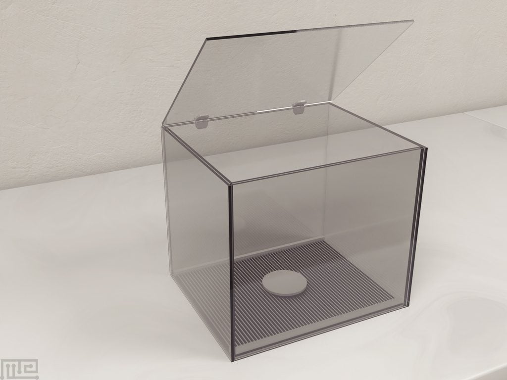 The step-down apparatus consists of a contextual Acrylic chamber with an electrified grid floor, with an elevated vibrating platform