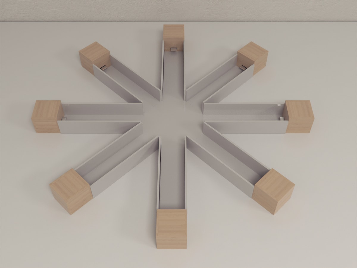 Finger groove maze is an octagonal transparent Plexiglas with 8 radial arms
