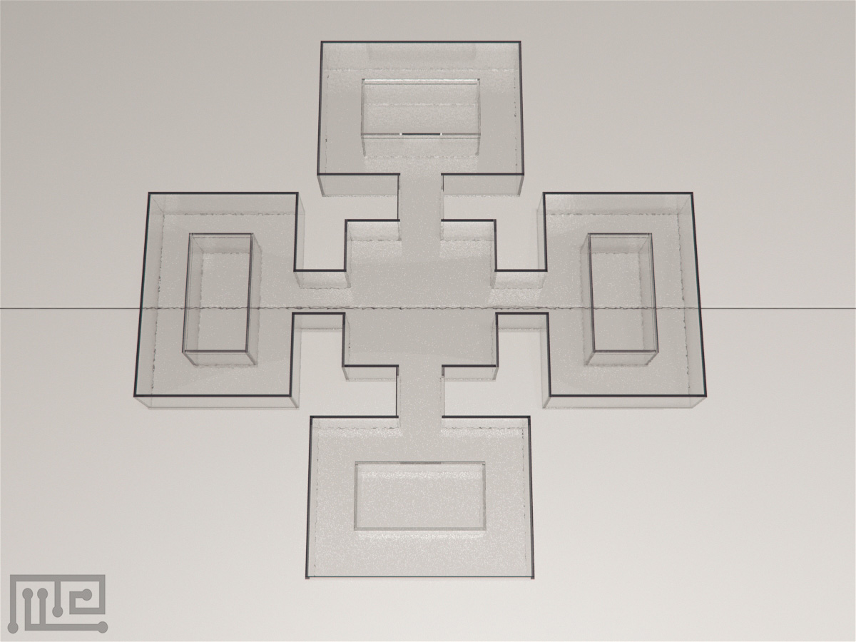"Zebrafish plus maze is a ""+"" shaped maze that contains four end compartments and one central compartment"