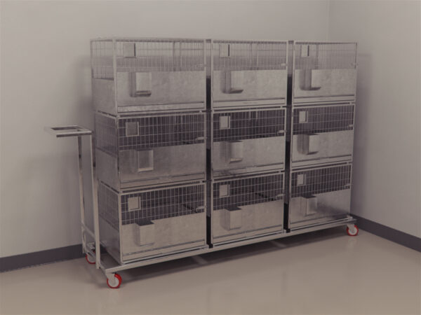 Rabbit cage with portable trolley